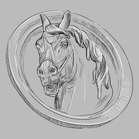 Ancient vintage bas-relief in the form of a head of horse, vector hand drawing illustration in black and white colors isolated on grey background