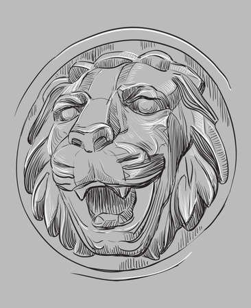 Ancient stone bas-relief in the form of a lion's head with open mouth, vector hand drawing illustration in black and white colors isolated on grey background