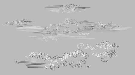 Vector hand drawing set of clouds different shapes in black and white colors isolated on grey background. Monochrome vintage clouds. Vector illustration of clouds. Image for design, cards.