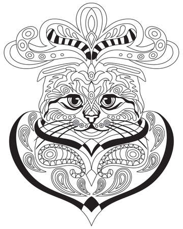 Vector hand drawing doodle coloring anti stress with ornamental Scottish fold cat portrait isolated on white background. Illustration for decorate tee shirt, stationery, adult antistress coloring book.
