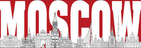 Panoramic vector line art illustration of landmarks of Moscow, Russia. Moscow city skyline vector illustration in black, white, red colors.