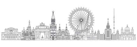 Panoramic vector line art illustration of landmarks of Moscow, Russia. Moscow city skyline vector illustration in black color isolated on white background. Moscow vector icon. Moscow building outline.