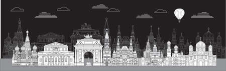 Panoramic vector line art illustration of landmarks of Moscow, Russia. Moscow city skyline vector illustration in white color isolated on black background. Moscow vector icon. Moscow building outline. Ilustração