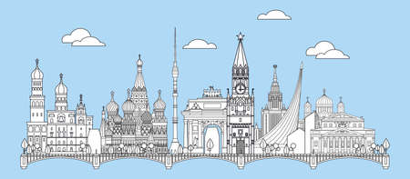 Panoramic vector line art illustration of landmarks of Moscow, Russia. Moscow city skyline vector illustration in white color isolated on blue background. Moscow vector icon, building outline.