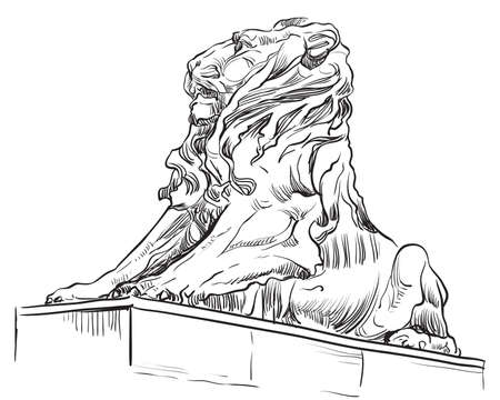 Sketch of lion statue profile view. Vector hand drawing illustration in black color isolated on white background. Graphic Element for design. stock illustration