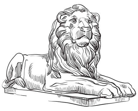 Sketch of classical greek lion statue profile view. Vector hand drawing illustration in black color isolated on white background. Graphic Element for design. stock illustration