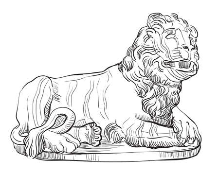 Sketch of stone lying lion statue profile view. Vector hand drawing illustration in black color isolated on white background. Graphic Element for design. stock illustration Vettoriali