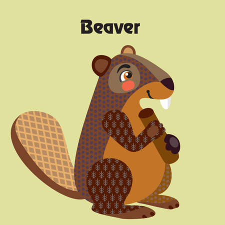 Colorful decorative outline cute beaver sittiing in profile. Wild animals and birds vector cartoon characters flat illustration in different colors isolated on green background.Vector stock illustration.