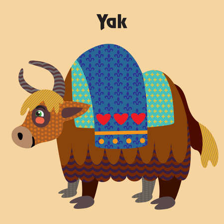 Colorful decorative outline cute yak standing in profile. Wild animals and birds vector cartoon flat illustration in different colors isolated on beige background.