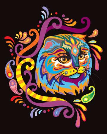 Colorful decorative ornamental portrait of fluffy scottish fold cat