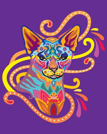 Colorful decorative ornamental portrait of sphinx cat Ilustrace