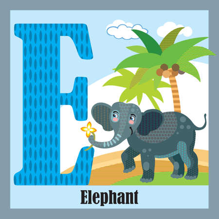 Vector cartoon flashcards of animal alphabet, letter E. Colorful cartoon illustration of letter E and elephant vector character. Bright colors zoo wildlife illustration. Cute flat cartoon style. Stock illustration.