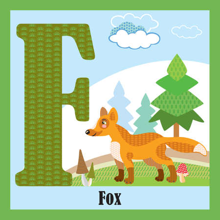 Vector cartoon flashcards of animal alphabet, letter F. Colorful cartoon illustration of letter and fox vector character. Bright colors zoo wildlife illustration. Cute flat cartoon style. Stock illustration. Illusztráció