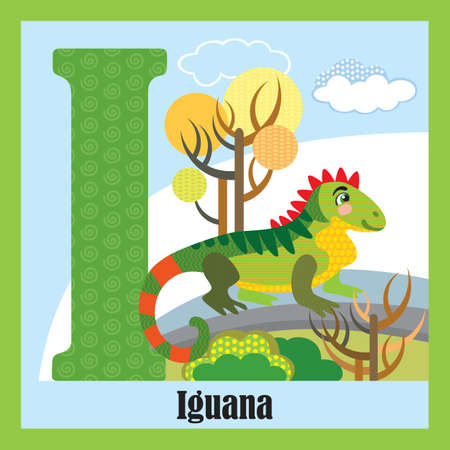 Vector cartoon flashcards of animal alphabet, letter I. Colorful cartoon illustration of letter and iguana vector character. Bright colors zoo wildlife illustration. Cute flat cartoon style. Stock illustration.