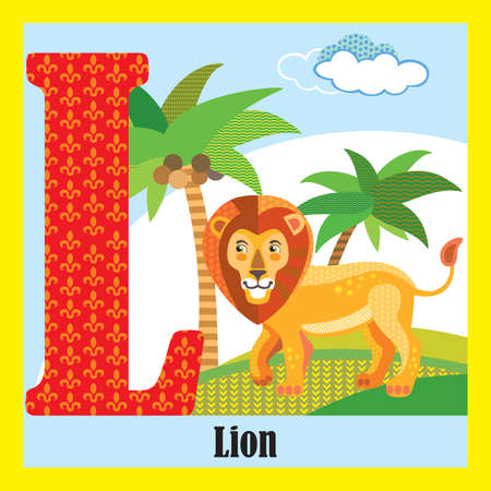 Vector cartoon flashcards of animal alphabet, letter L. Colorful cartoon illustration of letter L and lion vector character. Bright colors zoo wildlife illustration. Cute flat cartoon style. Stock illustration.