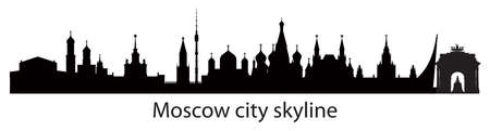 Panoramic Moscow skyline travel illustration with main architectural landmarks. Worldwide traveling concept. Moscow city silhouette landmarks, monochrome russian tourism and journey vector background.