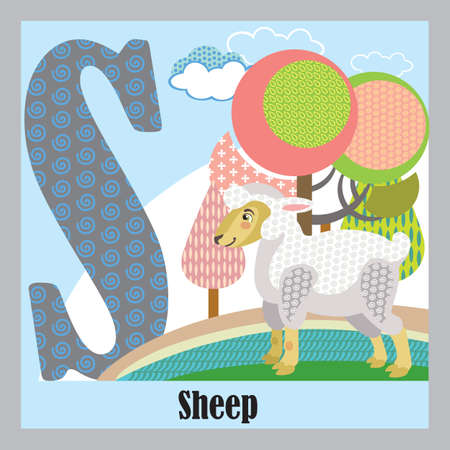 Vector cartoon flashcards of animal alphabet, letter S. Colorful cartoon illustration of letter S and sheep vector character. Bright colors zoo wildlife illustration. Cute flat cartoon style. Stock illustration.