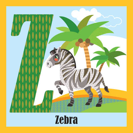 Vector cartoon flashcards of animal alphabet, letter Z. Colorful cartoon illustration of letter Z and zebra vector character. Bright colors zoo wildlife illustration. Cute flat cartoon style. Stock illustration. Иллюстрация