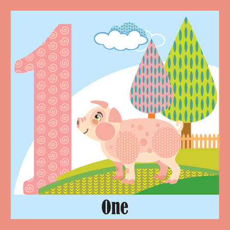 Vector cartoon flashcards of animal numbers, number 1. Colorful cartoon illustration of number 1 and pig vector character. Bright colors zoo wildlife illustration. Cute flat cartoon style. Stock illustration. Illustration