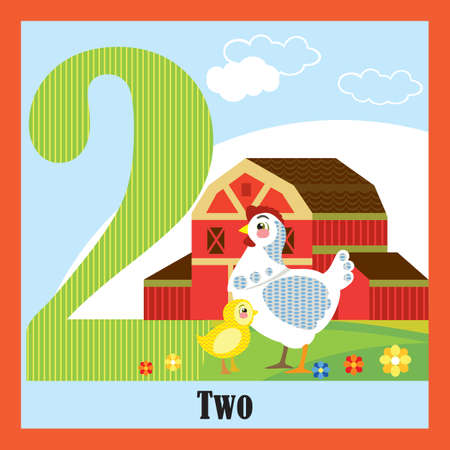 Vector cartoon flashcards of animal numbers, number 2. Colorful cartoon illustration of number 2 and hen vector character. Bright colors zoo wildlife illustration. Cute flat cartoon style. Stock illustration.