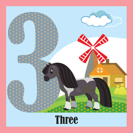 Vector cartoon flashcards of animal numbers, number 3. Colorful cartoon illustration of number 3 and pony vector character. Bright colors zoo wildlife illustration. Cute flat cartoon style. Stock illustration.