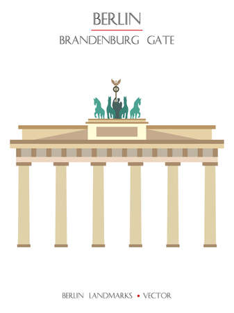 Colorful vector Brandenburg Gate front view, famous landmark of Berlin, Germany. Vector flat illustration isolated on white background. Berlin travel concept. Stock illustration