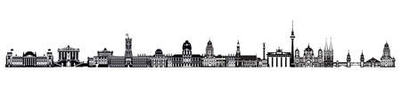 Horizontal Berlin travel illustration with architectural landmarks. Worldwide traveling concept. Panoramic illustration of landmarks of Berlin. German tourism and journey vector background. Stock illustration