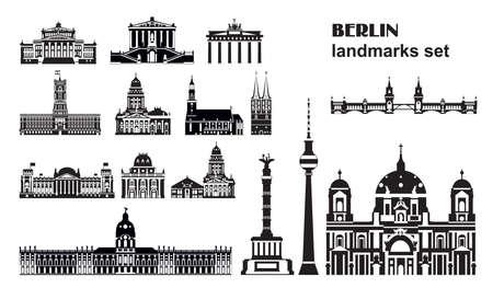Vector set of Berlin landmarks, Germany. Monochrome isolated illustration. Berlin travel concept. Horizontal illustration of main landmarks isolated on white background. Stock illustration