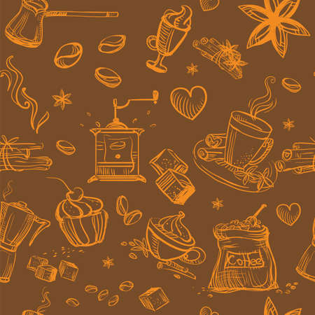 Seamless pattern doodle style coffee theme. Vector hand drawing coffee icons orange color isolated on brown background. Coffee illustration elements. Food and drink concept. Stock illustration Stock Illustratie