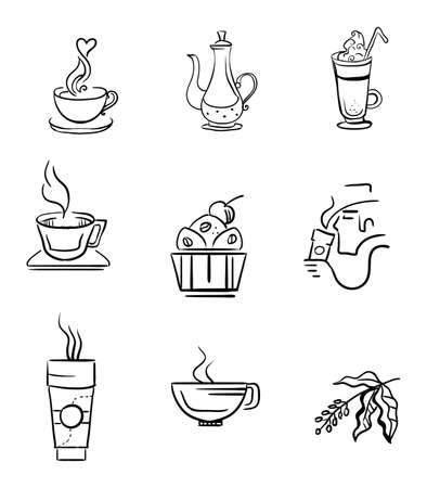 Set of vector coffee icons isolated on white background. Hand drawing coffee illustration elements for your buisness.  Food and drink concept. Stock illustration Stock Illustratie