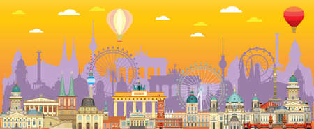 Panoramic Berlin skyline travel illustration with main architectural landmarks in flat style. Berlin city landmarks front view, colorful German tourism and journey vector background. Stock illustration Иллюстрация