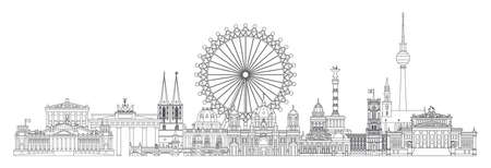 Horizontal vector line art illustration of landmarks of Berlin, Germany. Berlin skyline vector illustration in black color isolated on white. Moscow vector icon. German tourism vector concept. Stock illustration.