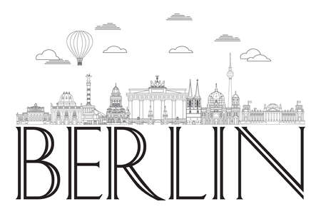 Line art illustration of landmarks of Berlin, Germany. Horizontal vector Berlin skyline illustration in black color isolated on white. Moscow vector icon. German tourism vector concept. Stock illustration. Иллюстрация