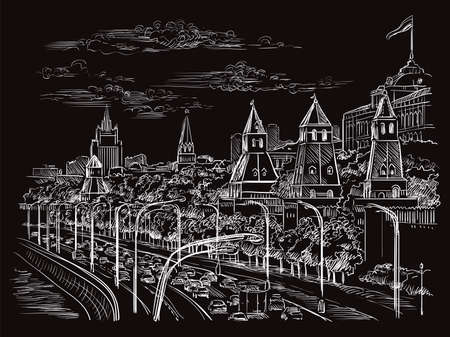 Vector monochrome sketch hand drawing illustration of Kremlin in Moscow, Russia cityscape. Horisontal illustration in white color isolated on black background. Stock illustration.