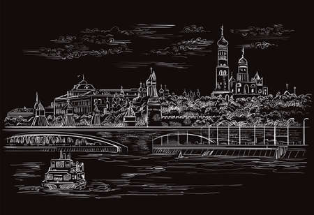 Vector monochrome sketch hand drawing illustration of Kremlin and embankment of river in Moscow, Russia cityscape. Horisontal isolated illustration in white color on black background. Stock illustration.
