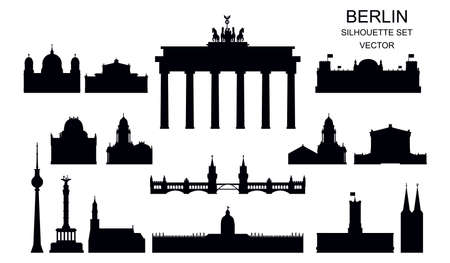 Vector set of Berlin landmarks silhouettes, Germany. Black illustration isolated on white. Berlin travel concept. Horizontal illustration of main landmarks isolated on white background. Stock illustration