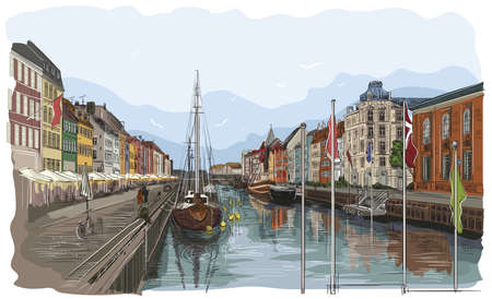 Pier in Copenhagen, Denmark. Landmark of Denmark. Vector colorful hand drawing illustration isolated on white background.