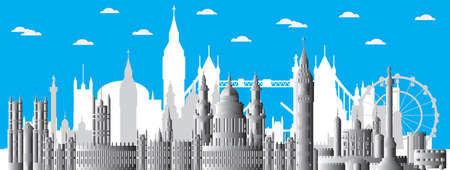 Horizontal London skyline poster. London city landmarks, monochrome gradient english tourism and journey travel illustration vector background. Worldwide traveling concept.Stock illustration  イラスト・ベクター素材