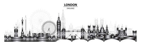 Horizontal London skyline illustration. London city landmarks tourism and journey travel illustration. Gradient vector background. Worldwide traveling concept. Stock illustration  イラスト・ベクター素材