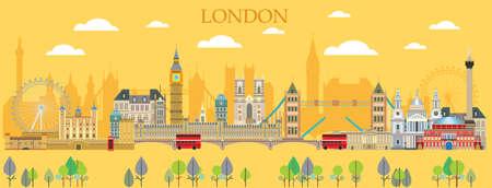 Horizontal London travel colorful illustration with architectural landmarks.