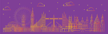 Panoramic London travel illustration with architectural landmarks in line art style.