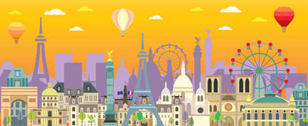 Colorful Paris skyline travel illustration. Design with isolated Paris landmarks, french tourism and journey vector background for print, t-shirt, souvenirs. Worldwide traveling concept.