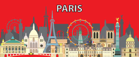 Colorful Paris skyline travel illustration. Design with isolated Paris landmarks  front view, french tourism and journey vector background for print, t-shirt, souvenirs. Worldwide traveling concept.