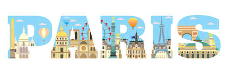 Horizontal colorful London travel lettering with architectural landmarks. Front view London traveling concept. Vector flat illustration, English tourism and journey background.