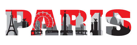 Horizontal London travel lettering with architectural landmarks. Front view London traveling concept. Vector flat illustration, English tourism and journey background.