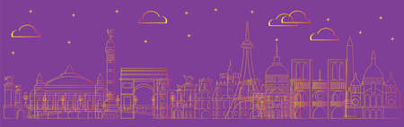 Paris skyline travel illustration in line art style. Colorful summer design with isolated Paris landmarks, french tourism and journey vector background for print, t-shirt, souvenirs. Worldwide traveling concept.