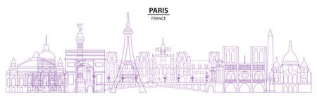 Paris skyline travel illustration in line art style. Vector design with isolated Paris landmarks, french tourism and journey background for print, t-shirt, souvenirs. Worldwide traveling concept.