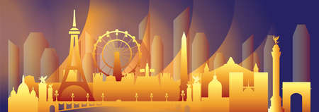 Paris skyline travel illustration. Vector design with Paris landmarks front view in gradient colors, french tourism and journey background for print, t-shirt, souvenirs. Worldwide traveling concept.