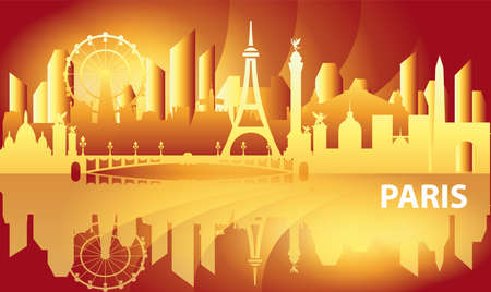 Paris skyline travel illustration. Vector design with Paris landmarks front view in gradient colors, french tourism and journey background for print, t-shirt and souvenirs. Worldwide traveling concept. Illustration