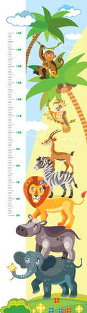 Height meter with pyramid of African animals vector cartoon illustration in flat style. Vector vertical scale measurement with cute wild animals for children. Great for printed products and souvenirs.